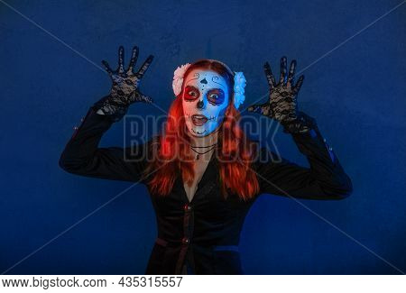 Beautiful Woman With Scary Halloween Make Up Dead Day