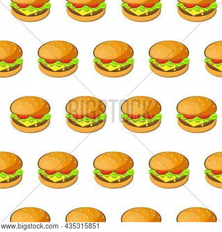 Burger, Hamburger, Cheeseburger Vector Seamless Pattern. Tasty Big Juicy Burgers With Tomato, Salad