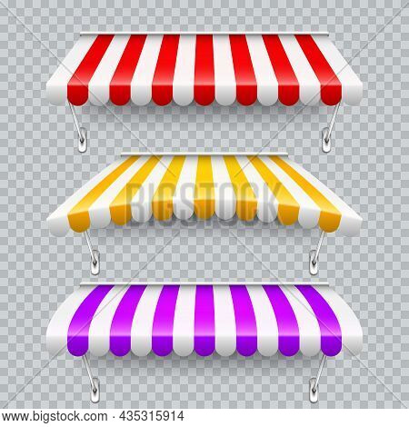 Colorful Shop Sunshade With Metal Mount. Realistic Striped Cafe Awning. Outdoor Market Tent. Roof Ca