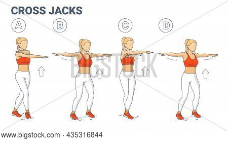 Girl Doing Cross Jacks Home Workout Exercise Guide Illustration. Woman Works On Her Muscles Concept.