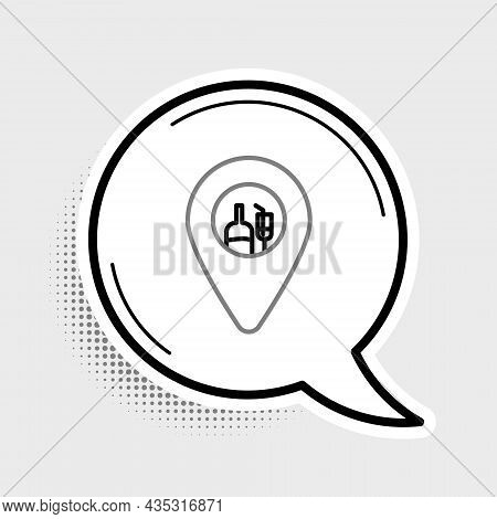 Line Alcohol Or Beer Bar Location Icon Isolated On Grey Background. Symbol Of Drinking, Pub, Club, B
