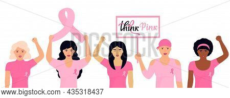 National Breast Cancer Awareness Month. A Group Of Multiethnic Women With A Pink Ribbons.