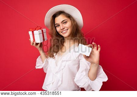 Portrait Of Young Attractive Caucasian Hipster Woman In Trendy Casual Clothes And White Hat. Sexy Ca
