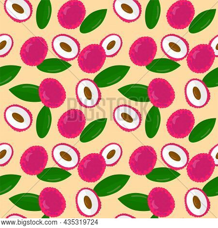 Pattern With Fruits And Leaves Of Lychee. Endless Background. Fruit Design For Paper Or Fabric.