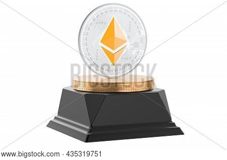 Ethereum Coin Golden Award Concept. 3d Rendering Isolated On White Background