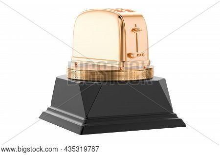 Toaster Golden Award Concept. 3d Rendering Isolated On White Background