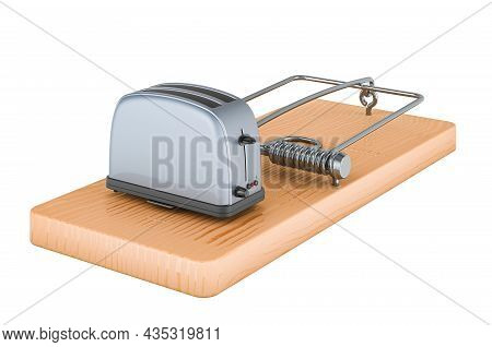 Toaster Inside Mousetrap, 3d Rendering Isolated On White Background
