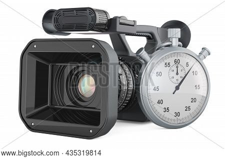 Stopwatch With Professional Video Camera, 3d Rendering Isolated On White Background