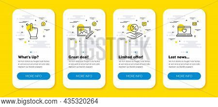 Vector Set Of Touchscreen Gesture, Photo Edit And Loan Percent Line Icons Set. Ui Phone App Screens