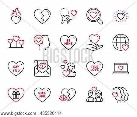 Vector Set Of Love Icons Related To Heart, Hold Heart And Honeymoon Travel Icons. International Love