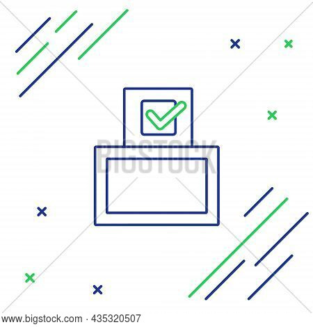 Line Vote Box Or Ballot Box With Envelope Icon Isolated On White Background. Colorful Outline Concep