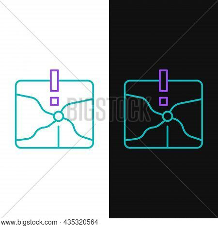 Line Intersection Point Icon Isolated On White And Black Background. Colorful Outline Concept. Vecto