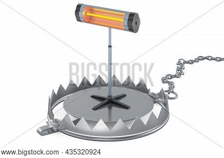 Bear Trap With Halogen, Infrared Heater. 3d Rendering Isolated On White Background