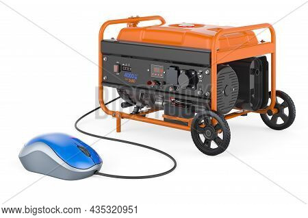 Gasoline Generator With Computer Mouse. 3d Rendering Isolated On White Background