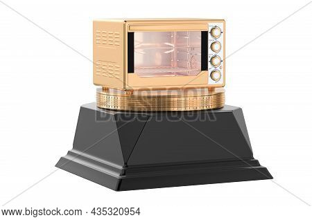 Convection Toaster Oven Golden Award Concept. 3d Rendering Isolated On White Background