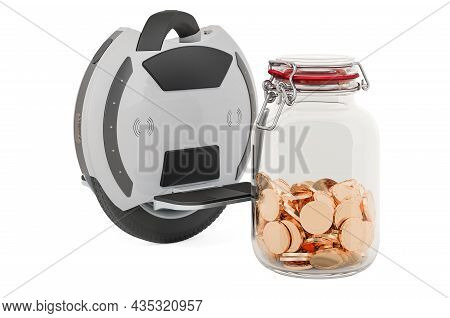 Electric Unicycle With Glass Jar Full Of Golden Coins, 3d Rendering Isolated On White Background