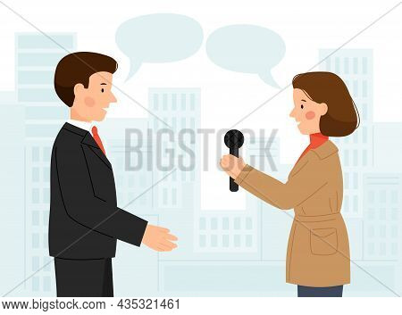 Vector Scene Of Man And Woman Interview. A Guy And A Girl Talking. Man Giving Interviews To A Journa