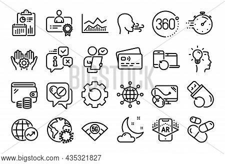 Vector Set Of Capsule Pill, World Statistics And Trade Infochart Line Icons Set. Calendar Report, Mo