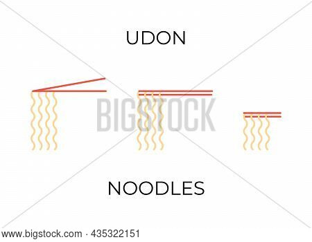 Chopsticks Holding Udon Noodles Icons Set. Udon Noodles Different Illustrations Collection For Resta