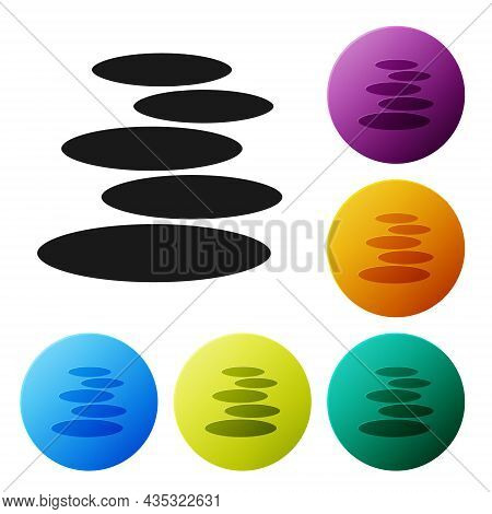 Black Stack Hot Stones Icon Isolated On White Background. Spa Salon Accessory. Set Icons In Color Ci