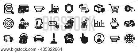 Set Of Simple Icons, Such As Taxi, Savings, Check Article Icons. Plunger, Bombon Coffee, Teacup Sign