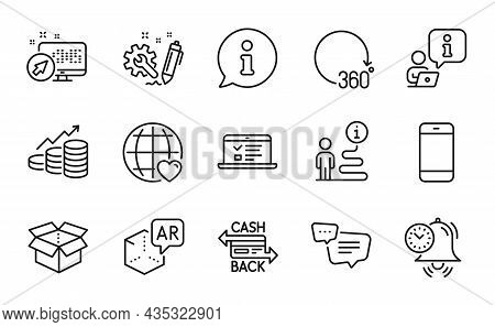 Technology Icons Set. Included Icon As Cashback Card, 360 Degrees, International Love Signs. Smartph