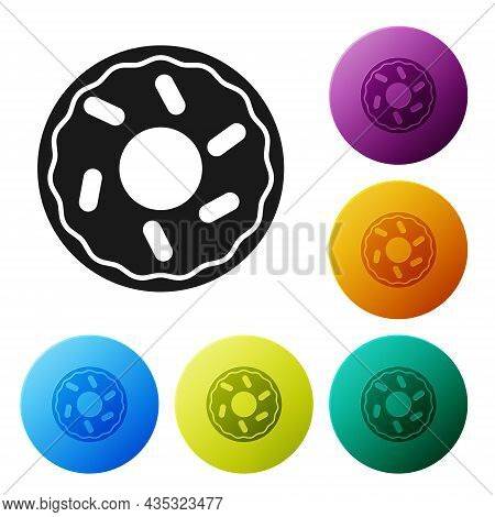 Black Donut With Sweet Glaze Icon Isolated On White Background. Set Icons In Color Circle Buttons. V
