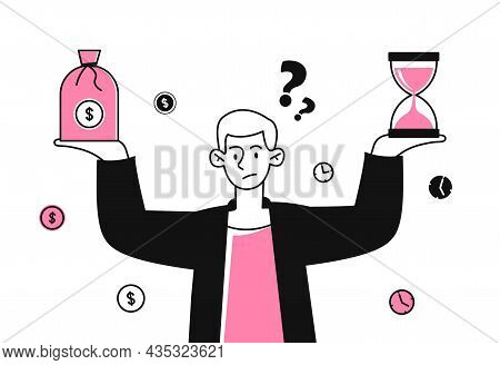 Comparison Of Financial Risks And Benefits. Man Holds Hourglass And Dollars. Increase Profits And Re