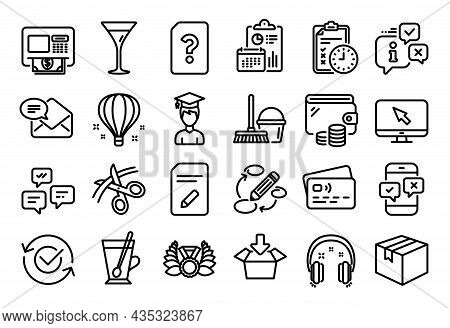 Vector Set Of Atm, Keywords And Air Balloon Line Icons Set. Calendar Report, Money Wallet And Credit