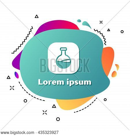 White Test Tube And Flask Chemical Laboratory Test Icon Isolated On White Background. Laboratory Gla