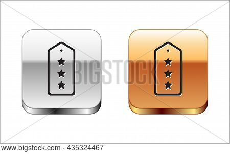 Black Military Rank Icon Isolated On White Background. Military Badge Sign. Silver-gold Square Butto