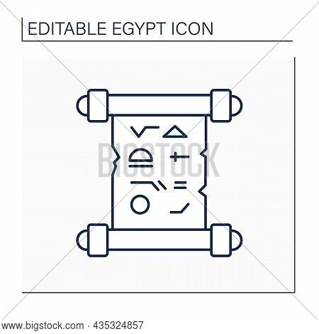 Papyrus Line Icon. Paper In Ancient Egypt For Writing Or Painting. Historical Document With Hierogly