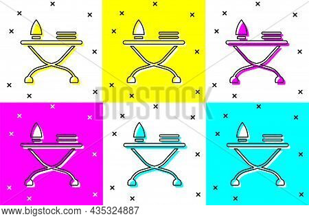 Set Electric Iron And Ironing Board Icon Isolated On Color Background. Steam Iron. Vector