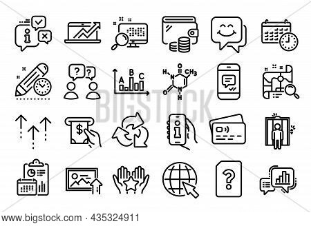 Vector Set Of Unknown File, Calendar And Graph Chart Line Icons Set. Calendar Report, Money Wallet A