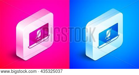 Isometric Mute Microphone On Laptop Icon Isolated On Pink And Blue Background. Microphone Audio Mute