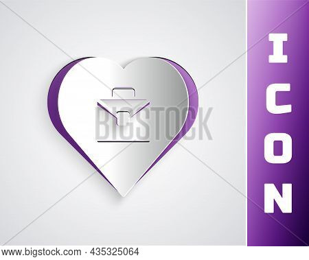 Paper Cut Heart With Text Work Icon Isolated On Grey Background. Paper Art Style. Vector
