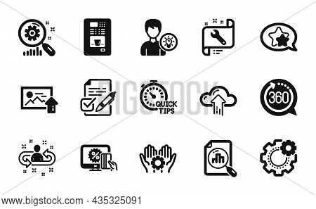 Vector Set Of Analytics Graph, Quick Tips And Cloud Upload Icons Simple Set. Online Shopping, 360 De