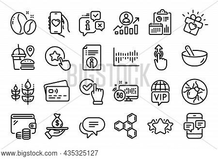 Vector Set Of Star, Vip Internet And Loyalty Star Line Icons Set. Calendar Report, Money Wallet And