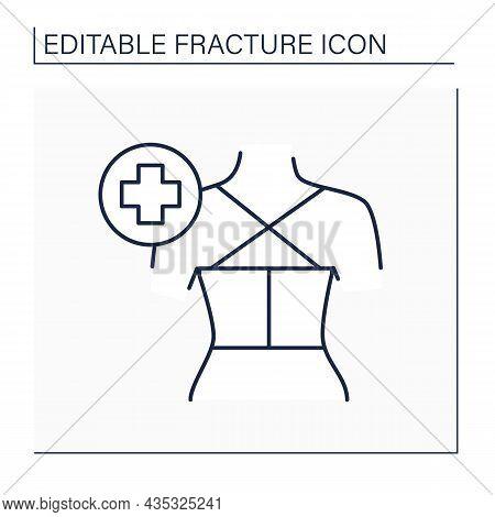 Treatment Line Icon. Wound Care Treatment. Protection Vertebrae.back Fracture. Healthcare Concept. I