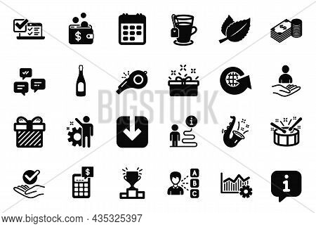 Vector Set Of Simple Icons Related To Jazz, World Globe And Present Box Icons. Savings, Recruitment