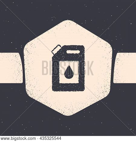 Grunge Canister For Motor Machine Oil Icon Isolated On Grey Background. Oil Gallon. Oil Change Servi