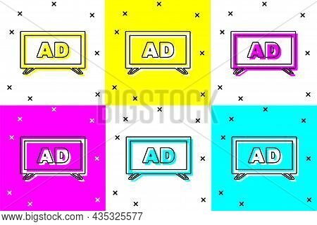 Set Advertising Icon Isolated On Color Background. Concept Of Marketing And Promotion Process. Respo