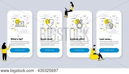 Set Of Line Icons, Such As Honor, Fragile Package, Online Documentation Icons. Ui Phone App Screens