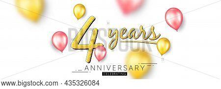 4 Years Anniversary. Happy Birthday Balloons Background. Four Years Celebration Icon. Anniversary Ce