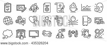 Set Of Business Icons, Such As Teamwork Chart, Stars, Coffee Cup Icons. Creative Painting, Cogwheel,