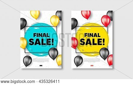Final Sale Text. Flyer Posters With Realistic Balloons Cover. Special Offer Price Sign. Advertising