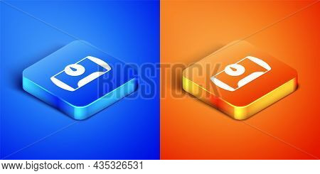 Isometric Gas Tank For Vehicle Icon Isolated On Blue And Orange Background. Gas Tanks Are Installed
