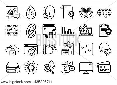 Vector Set Of 5g Wifi, Face Search And Cloud Protection Line Icons Set. Calendar Report, Money Walle