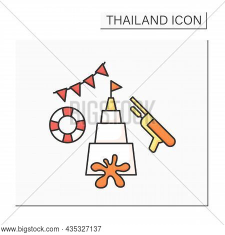 Songkran Color Icon. Traditional Festival Dedicated To New Year Celebration.water Splashing Event. C