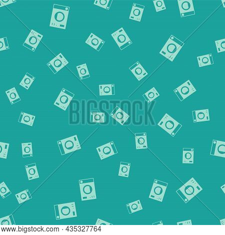 Green Washer Icon Isolated Seamless Pattern On Green Background. Washing Machine Icon. Clothes Washe
